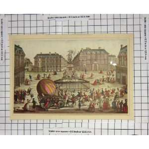 C1880 Street Scene Hot Air Balloon Horse Cart Colour:  Home