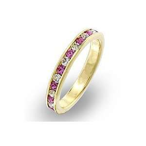 Crystal Bands   14k Gold Plated Pink and Clear Swarovski Crystal Band