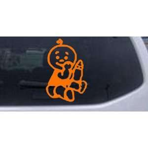 Orange 3in X 4.6in    Baby With Bottle Car Window Wall Laptop Decal