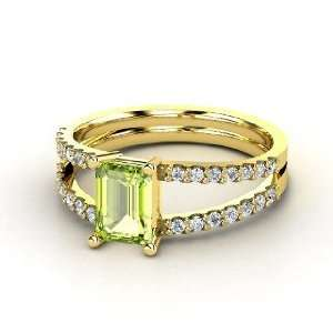 Ring, Emerald Cut Peridot 14K Yellow Gold Ring with Diamond Jewelry