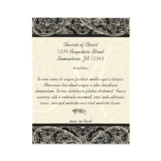 Monogram Black Damask Wedding Direction Card invitation