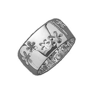 Ladies Sterling Silver Flower Band Ring Jewelry