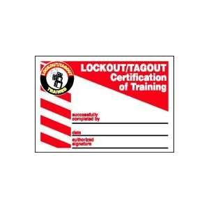 Labels LOCKOUT/TAGOUT CERTIFICATION OF TRAINING (WALLET CARD) 2 1/8 x