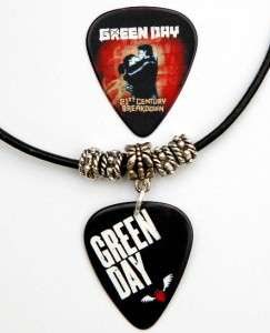 Green Day Guitar Pick Black Leather Necklace + Pick