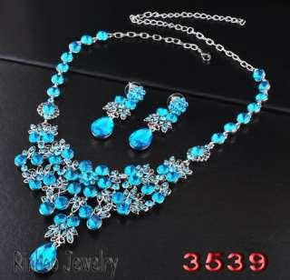 Blue Flowers In Clusters Drop Rhinestone Crystal Bridal Evening