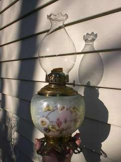 BEAUTIFUL OLD 1890s VICTORIAN ANTIQUE SAILBOATS TABLE OIL LAMP