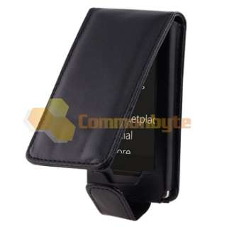 FOR MICROSOFT ZUNE HD  USA BLACK LEATHER FLIP POUCH CASE COVER w
