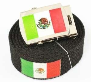 MEXICO FLAG CANVAS WEB BELT & BUCKLE