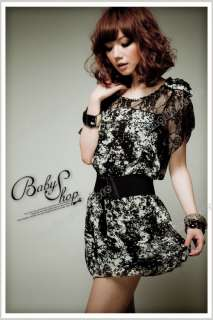 Womens Korea Sexy Lace Chiffon Mini Dress With Belt 048