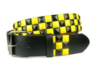 Snap On Punk Rock Star Black & Yellow Checker Board Pattern Leather