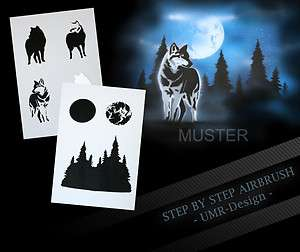 Airbrush Stencil Template 6 Steps AS 094 M Size 5,11 x 3,95