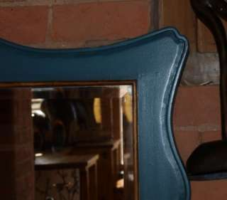 French Style Antique Painted Wall Mirror Teal