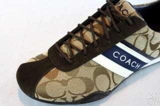 COACH Jayme Signature Khaki / Navy / White Sneakers Shoes size 8.5