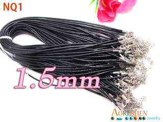 18 3SIZE BLACK Genuine cowhide Leather Necklace Cord String Thread