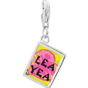 Silver Gold Plated Leap Year Pink Heart Photo Rectangle Frame Charm