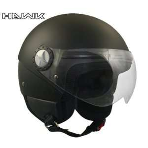 Hawk Solid Matte Black Open Face Motorcycle Helmet   Size