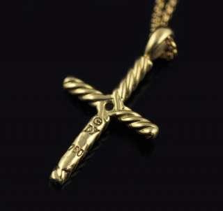 David Yurman 18k Gold Cross Diamond Pendant Necklace