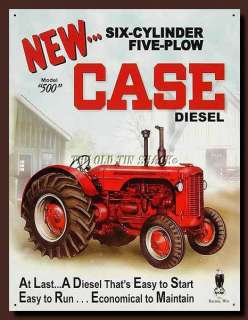 Tin Metal Sign   Case 500 Diesel Country Farm Tractor Model 500 #1169