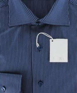 New $325 Barba Napoli Navy Blue Shirt 16.5/42