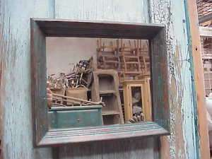 Rustic Mirror Primitive Antique Frame Vintage 13x11