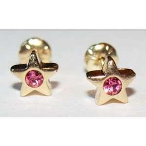 CHILDS 18K SKILLUS GOLD PINK CZ STAR STUD EARRINGS, SAFETY BACKS