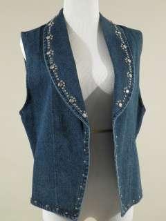 vtg Apache collared vest rhinestones silver studs blue jean cotton M