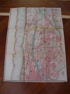 Rare 46 X 62 Hand Colored Pocket Map 1889 New York City