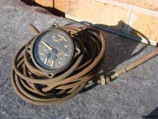 WW2 WWII MILITARY AIRCRAFT INSTRUMENT GUAGE TEMP, OIL, FUEL & PRESS