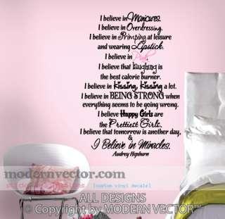 Audrey Hepburn Vinyl Wall Quote Decal I BELIEVE IN PINK