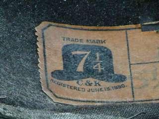 Antique 1880 C and K Black Felt Homberg Hat RARE