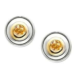 Timeless Bezel Set 14K White Gold Stud Earrings with Orange Yellow