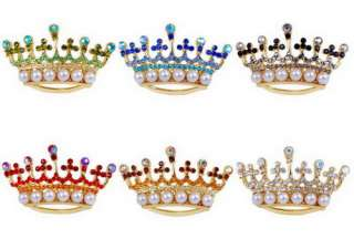 W25688 6p Crown Imitate Pearl Rhinestone Brooches Pins