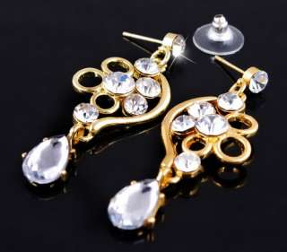 Gold plated 1set clear rhinestone alloy necklace earrings wedding