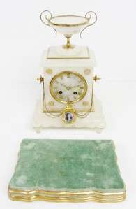 ANTIQUE JAPY FRERES FRENCH WHITE MARBLE & GILT METAL MANTEL CLOCK ON