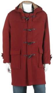 Mens Full Length Wool Duffle Coat with Hood, Burnt Red Clothing