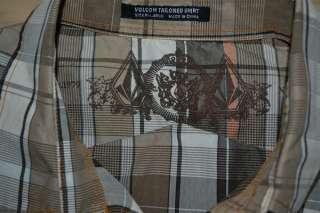 VOLCOM STONE SHORT SLEEVE GRAY BROWN ORANGE BUTTON DOWN CASUAL SHIRT
