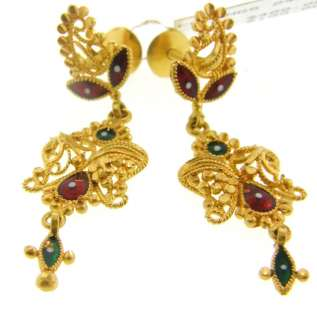Gorgeous Indian 22K Solid Yellow Gold Dangle Earrings