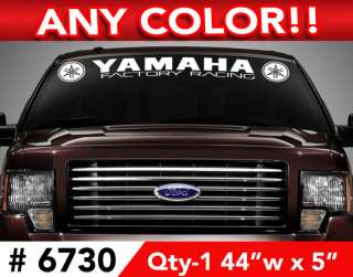 YAMAHA FACTORY RACING WINDSHIELD DECAL STICKER 44wx5
