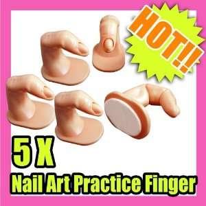 5 X Nail Art Practice Finger Acrylic Display 044 Beauty