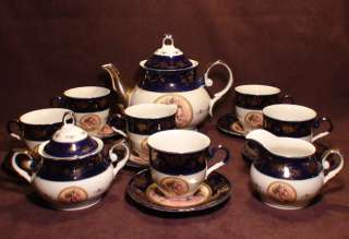 Cobalt Blue Fine Porcelain China Coffee / tea set