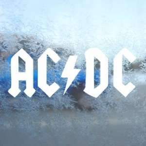 AC DC White Decal Car Window Laptop Vinyl White Sticker