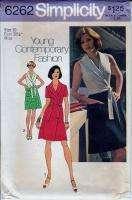 Vtg 70s Pattern Misses Short Front Wrap Dress Size 10