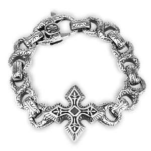 Cast Bracelet Large Celtic Cross With Engraved Figure 8 Links West