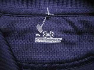 UNDER ARMOUR Heat Gear golf polo shirt men XL Navy Blue