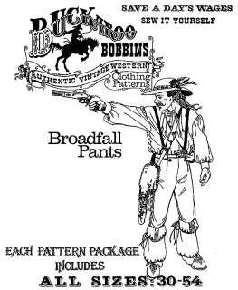 Buckaroo Bobbins Historic Pioneer/Mountainman Broadfall PANTS Sewing