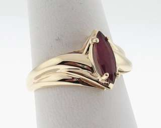 Estate Natural Marquise Ruby Solid 10k Yellow Gold Ring Size 8