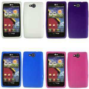 iFase Brand LG Lucid 4G VS840 Combo Solid White + Solid Blue + Solid