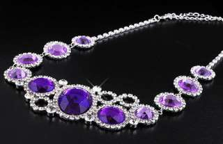Purple rhinestone earring necklace 1set rhinestone crystal silver
