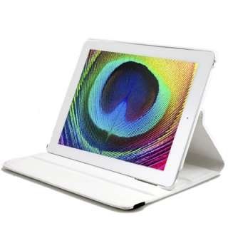 White 360 degree Rotating Swivel Magnetic Smart Leather Stand Cover