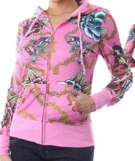 Light Pink Tattoo Love Kills Slowly Zip Front Hooded/Hoodie Jacket S/M